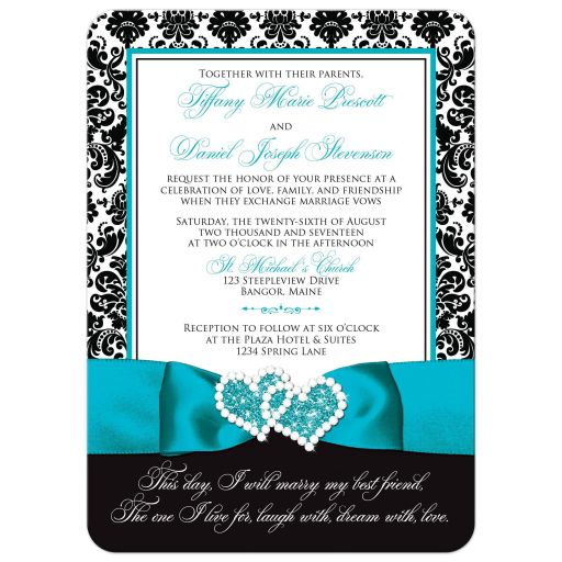 Black and white damask wedding invitation with aqua blue ribbon and joined hearts