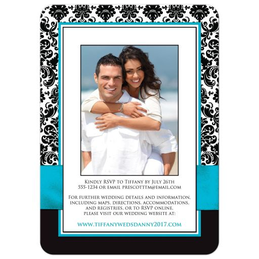 Teal, black and white damask wedding invite with teal ribbon and jewelled joined hearts