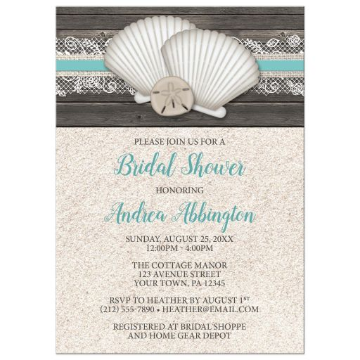 Bridal Shower Invitations - Beach Seashells Lace Rustic Wood and Sand