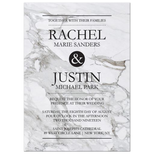 Modern marble charcoal gray wedding invitation