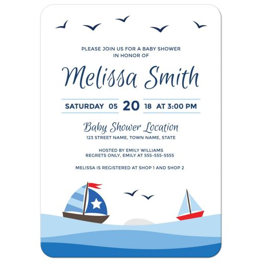 Sailboat baby shower invitation with cute cartoon boats