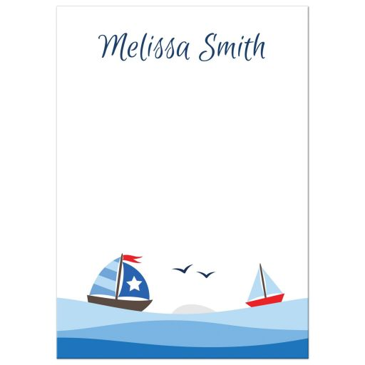 Personalized nautical sailboat stationery