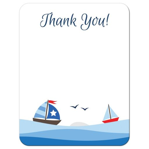 Nautical sailboats baby shower thank you note card