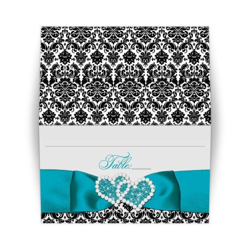 best black and white damask wedding place card, great turquoise damask joined hearts wedding escort cards, teal blue black and white damask wedding place cards, double hearts wedding placecards, wedding place cards with jewelled hearts, double hearts wedding invites, wedding invitations with damask and aqua blue glitter hearts, invites with ribbons and bow, invitations with jewels, wedding invitations with ribbons, elegant invitations, formal wedding invitations, valentine's day wedding theme, niteowlstudio, nite owl studio invitations