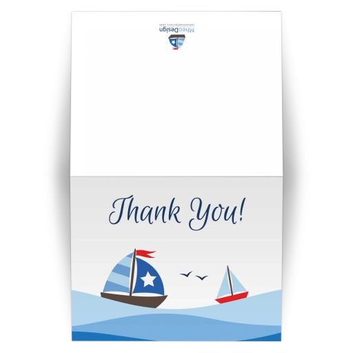 Sailboat baby shower thank you card with ombre nautical waves