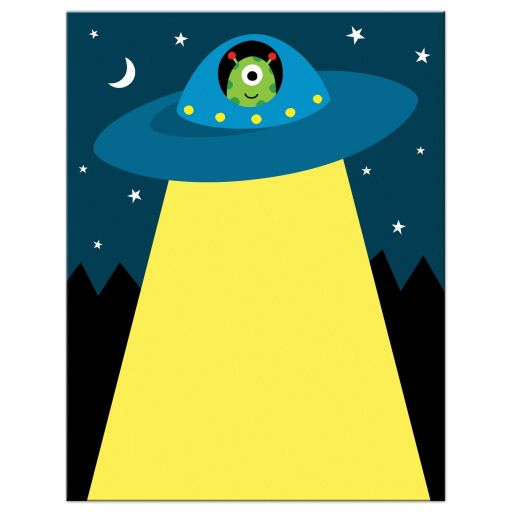 Cute alien in flying saucer spaceship stationery notecard for children