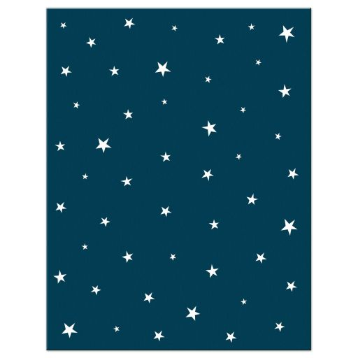 Whimsical stars, back of alien/UFO stationery note card for kids