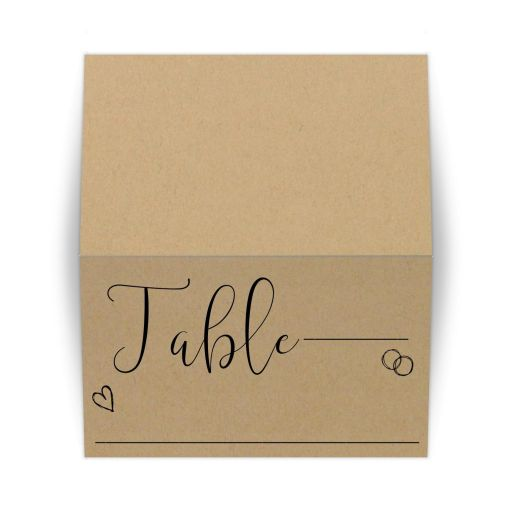 Modern Calligraphy Simulated Kraft Paper Tented Place Card
