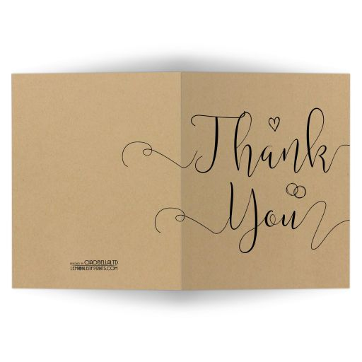 Modern Calligraphy Simulated Kraft Paper Thank You Card