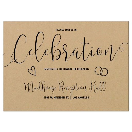 Modern Calligraphy Simulated Kraft Paper Wedding Reception Card