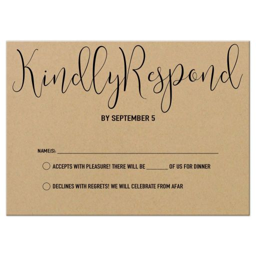 Modern Calligraphy Simulated Kraft Paper Wedding Response Card
