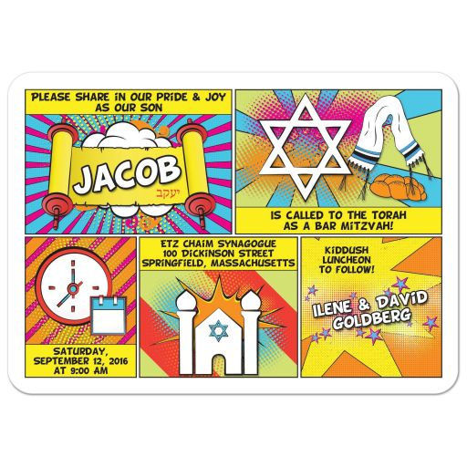 ​Unique and fun pop art comics comic book Bar Mitzvah invitation