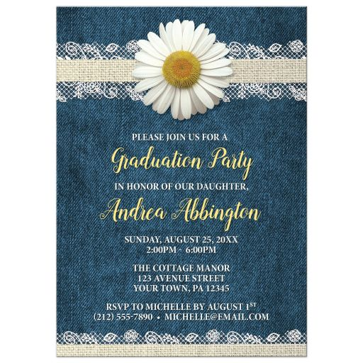 Graduation Party Invitations - Daisy Burlap and Lace Denim