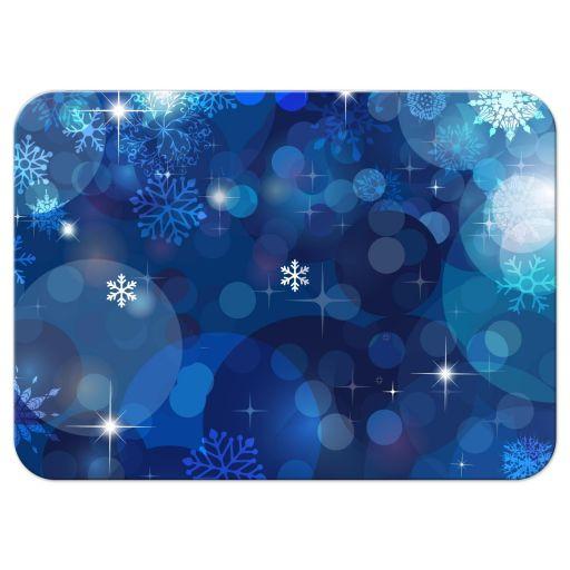 Snowflake Blue Bokeh Winter Bat Mitzvah Reply RSVP Card