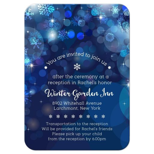 Snowflake Blue Bokeh Winter Bat Mitzvah Reception Invitation