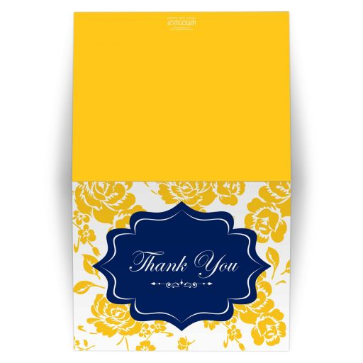 Navy blue, white, and yellow roses or peony floral wedding thank you card.