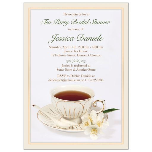 ​Elegant china teacup ​and jasmine flowers tea party bridal shower invitation