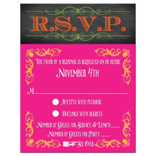 Modern neon chalkboard B'not Mitzvah response card rsvp with vintage flourishes, scrolls, and typography.