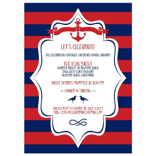 Nautical navy blue, red, and white striped B'nai Mitzvah invites with anchors, birds, captain's wheel, and rope for twin boy or twin girl sailors, sailing enthusiasts or boat lovers.