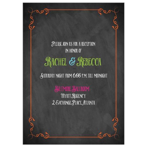 Neon chalkboard B'not Mitzvah invitation with vintage flourishes, scrolls, and typography.