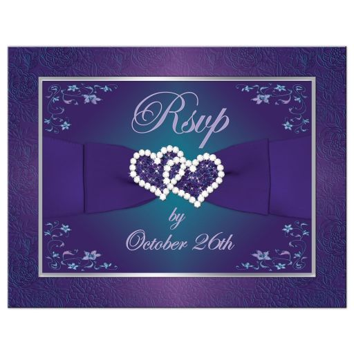 Teal green blue and purple floral wedding reply response postcard with ribbon, bow, scrolls, joined jewel and glitter double hearts and flowers.