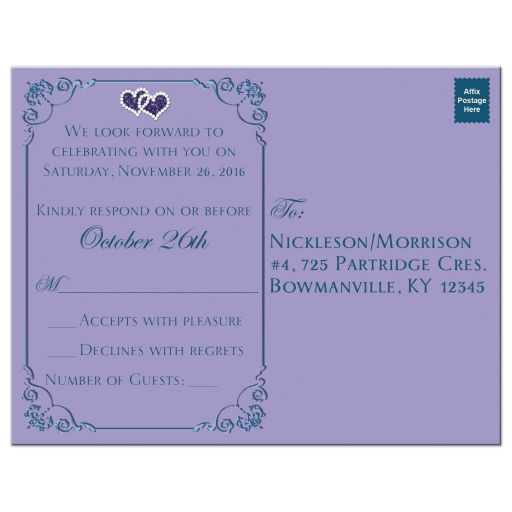 Teal green blue and purple floral wedding RSVP postcards with ribbon, bow, scrolls, joined jewel and glitter double hearts and flowers.