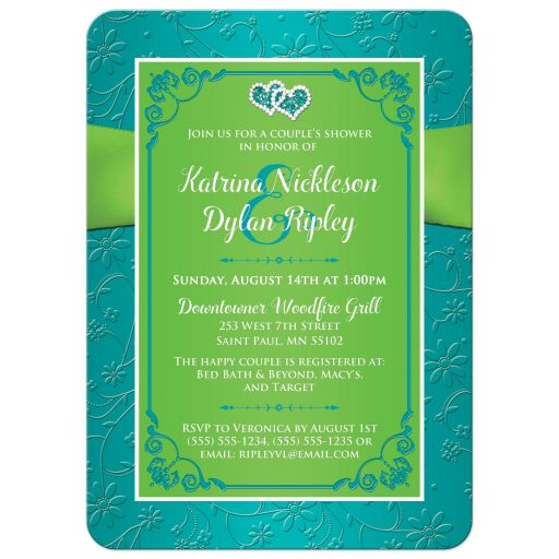 Turquoise blue, lime green and white wedding, bridal, or couple's shower invites with ribbon, bow, and joined jewel and glitter double hearts brooch.