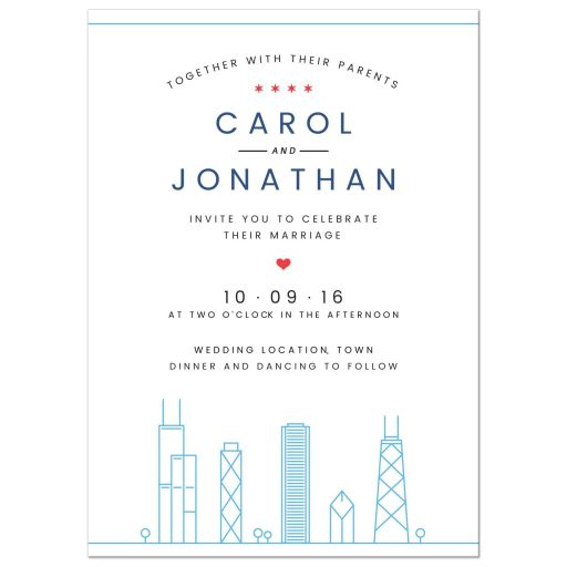 Modern Chicago skyline destination wedding invitation