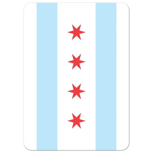 Chicago flag, back of elegant and contemporary Chicago skyline wedding invitation