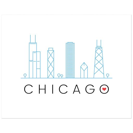 Modern Chicago skyline wall art poster print with red love heart