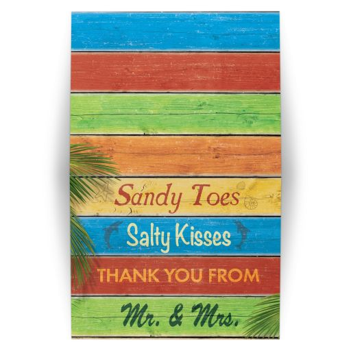 Colorful Sandy Toes Salty Kisses Thank You Card