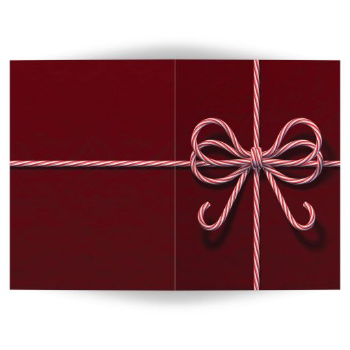 candy cane bow holiday card