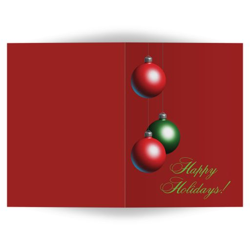 Christmas ornaments decorate this cranberry red holiday card.