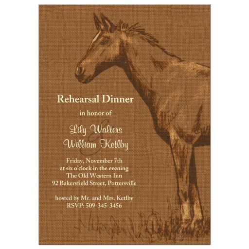 Charming Rustic Horse Rehearsal Dinner Invitation on Burlap