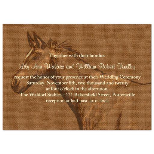 Charming Rustic Horse Wedding Invitation