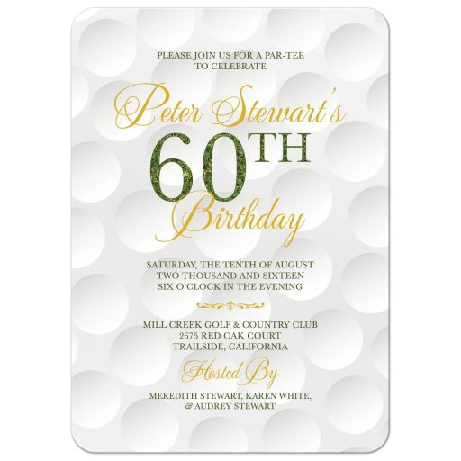 Elegant and simple golf themed 60th birthday invitation front