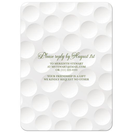 Elegant and simple golf themed 60th birthday invitation back