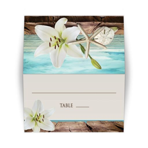 Place Cards - Beach Lily Seashells and Sand