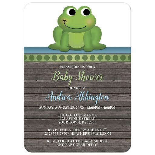 Baby Shower Invitations - Cute Frog Green Rustic Brown Wood