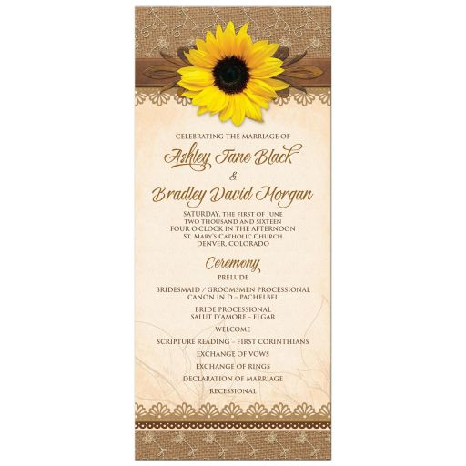 ​Rustic lace, burlap, wood and yellow sunflower country wedding program front