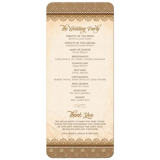 ​Rustic lace, burlap, wood and yellow sunflower country wedding program back
