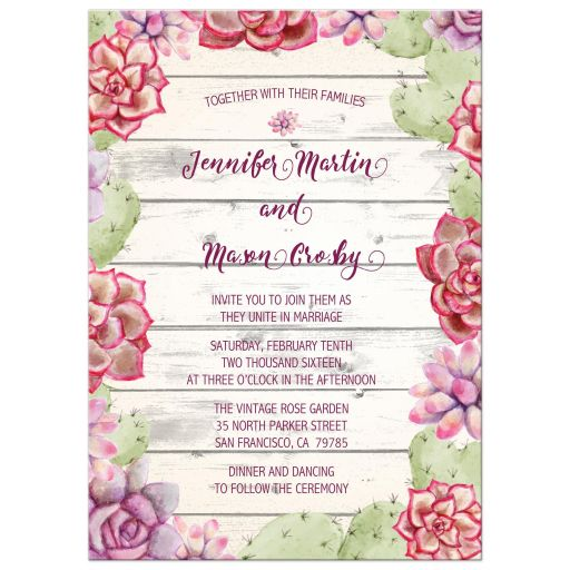 Rustic Whitewash Wood Cactus and Succulents Wedding Invitations