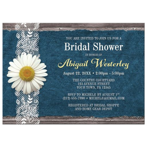 Bridal Shower Invitations - Daisy Denim and Lace Rustic Wood