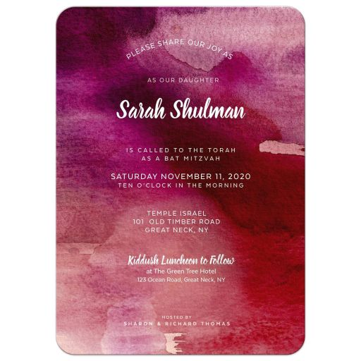 Bat Mitzvah invitation with Deep pink watercolor background