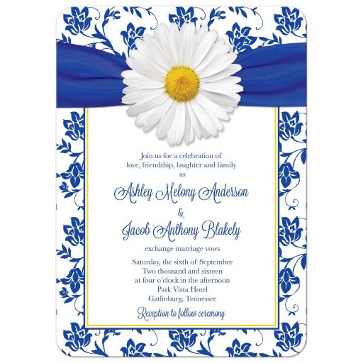 ​White shasta daisy and royal blue floral damask and ribbon wedding invitation front