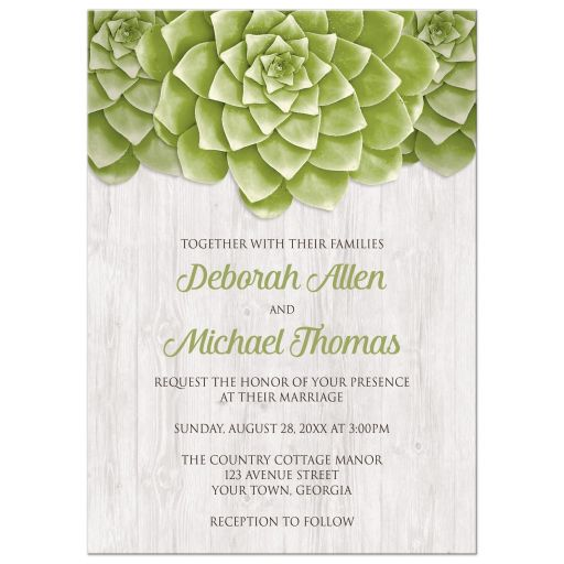 Wedding Invitations Succulent Whitewashed Wood Rustic