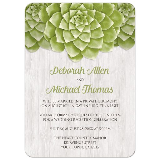 Reception Only Invitations - Succulent Whitewashed Wood Rustic