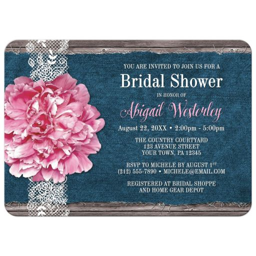 Bridal Shower Invitations - Pink Peony Denim and Lace Rustic Wood