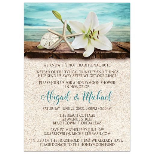 Honeymoon Shower Invitations - Beach Lily Seashells and Sand