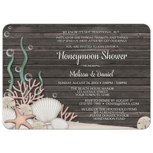 Honeymoon Shower Invitations - Rustic Beach and Wood